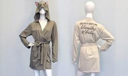 Knit Robe: Hoodie Cat/heather Grey-xs