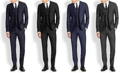 Mario Rossi Men's Slim Fit 3pc Suits: Charcoal/40rx34w