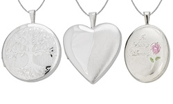 Sterling Silver Rhodium Locket Pendant Satin Lattice Heart