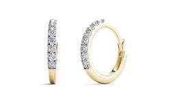 Aavya 10k Gold Women's Diamond Accent Classic Hoop Earring - Yellow