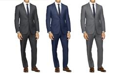 Slim-fit Sharskin Suit: Grey/42rx36w