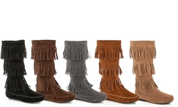 Rasolli Fringe Moccasin Boot: Grey/7.5