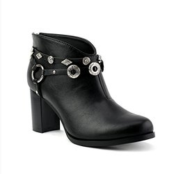 Whitlock Women's Concho Detailed Black Ankle Booties: Size 11