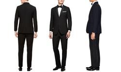 Verno Notch Lapel Black Tuxedos: Slim/40sx34w