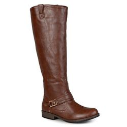 Journee Women's Ankle-Strap Square-Buckle Riding Boots - Brown - Size: 7.5