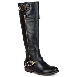 Journee Collection Women's Side-Zipper Riding Boots - Black - Size: 9