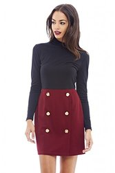 AX Paris Button Detail Mini Dress - Wine - Size: 14