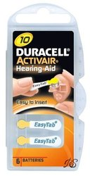 Duracell Hearing Aid Batteries Size 10 Pack 60 Batteries