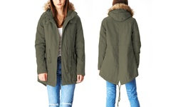 Lady Cotton Parka Jacket With Fur Lined Hood - Olive - Size: Large
