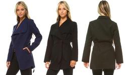 Women's Woven Belted Jacket: Olive/medium