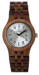 Tense Discovery Yukon Jumbo Round Walnut Wood Watch - Silver