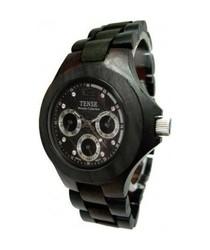 Tense Wood Men's Watch Dark Sandalwood Tri-Dial Hour Day Time G4300D