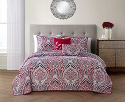 Vibrant Reversible 5-piece Quilt Sets: King/adelle - Red