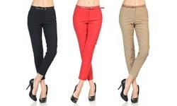 Women's Belted Skinny Pants (3-pack): Black/red/khaki - Medium