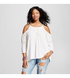Mossimo Women's Cold Shoulder Top - Cream - Size: Medium