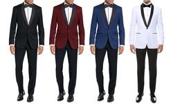 Eleganza Platinum Men's Shawl Lapel 2pc Modern Fit Tuxedos: Blue - 40r/34w