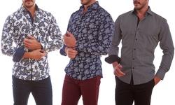 Azaro Uomo Men's Paisley Black Button Down Shirt-XXXL