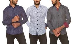 Azaro Uomo Men's Reymon White Button Down Shirt-XXL