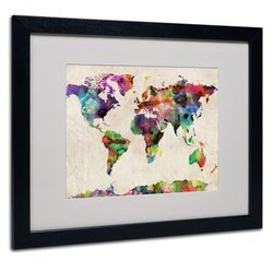 "Michael Tompsett 16"" x 20"" Urban Watercolor World Map (MT0013-B1620MF)"