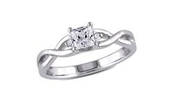 Women's Diamond 3/8 CT TGW White Sapphire Fashion Ring - Silver - Size: 8