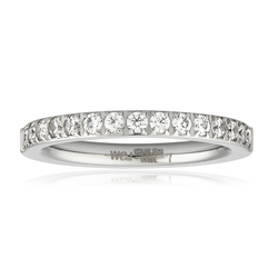 Women's Stainless Steel Polished CZ Band Ring - Size: 9
