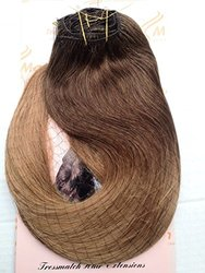 """Tressmatch 20""""(22"""") Clip in Remy (Remi) Human Hair Extensions Ombre/dip Dye Chestnut/Medium Brown to Caramel Blonde 10 Pieces(pcs) Thick to Ends Full Head Volume Set [Set Weight:5.3oz/150grams]"""