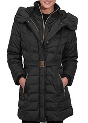 Kensie Ladies' Belted Puffer Coat - Black - Size: Large
