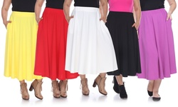 White Mark Women's Tasmin Flare Midi Skirts - Grey - Size: 3XL
