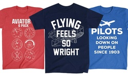 "Lc Trendz Men's ""Aviators Six Pack"" Aviation Tees - Red - Size: Large"