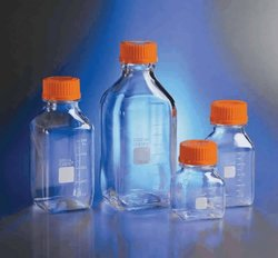Corning Polycarbonate Square Media Storage Bottles with Caps 500ml 24 Pks