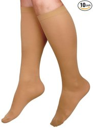 Medline Knee High Compression Hosiery 15-20mmHg 10 Pks - Beige - Size: XL