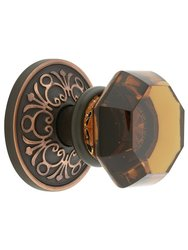 Emtek Lancaster Rosette Set with Crystal Knobs - Privacy Oil Rubbed Bronze