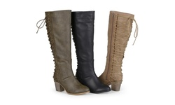 Journee Women's Wide-Calf Amara High Heel Lace-up Boots - Taupe - Size: 8