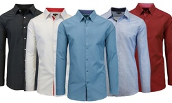 Slim Solid & Printed Long Sleeve Shirts: Mls-306 White/royal - Large