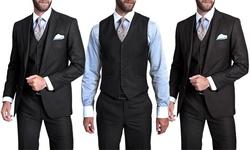Verno Men's 3-piece Pinstripe Suit: Slim-black/38sx32w
