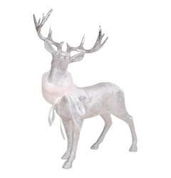 Threshold Large Resin Deer Figurine - Silver
