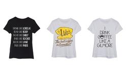 Lc Trendz Women's Lorelai and Rory Gilmore Name List T-Shirts -Black - 2XL