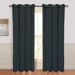 Black Olivia Jacquard Grommet Curtain Panel, 108 in. Length