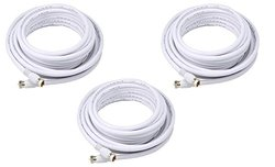 3 PCS RG6 F Type Quad Shielded Coaxial 18AWG 75 Cable White 100 Feet, CNE589473