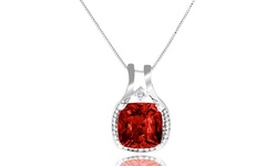 4.0 Cttw Genuine Diamond & Ruby Cushion Halo Pendant In Sterling Silver
