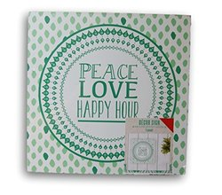 Indoor Square Wooden Green ''Peace Love Happy Hour'' Hanging Decor Sign - 10'' x 10''