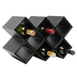 Modern Geometric Freestanding Synthetic Leather Wine Rack / 8-Bottle Storage Organizer, Black - MyGift