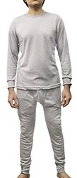 Energi Men's Comfort Fit Thermal Underwear Long Sleeve Shirt & Pant Set Crew Neck & Double Layer Cuff (2X, Heather Gray)