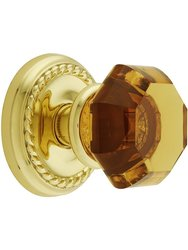 Emtek Classic Rosette Set Amber Crystal Door Knobs Dummy Polished Brass