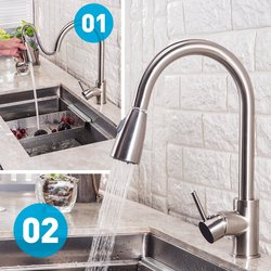 BHQ Modern Touch on Stainless Steel Pull Out Spray Kitchen Faucet
