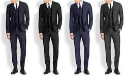 Mario Rossi Men's Slim Fit 3pc Suits: Charcoal/40sx34w