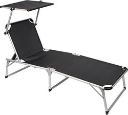 Simply Adjustable Beach & Patio Lounge Chair with Sun Shade - Black