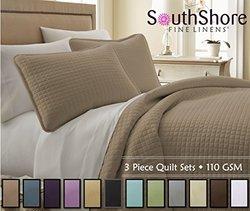 Southshore Fine Linens 3 Piece Oversized Quilt Sets (Queen, Taupe)