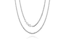 14k White Gold Diamond Cut Unisex Rope Chain: 18""