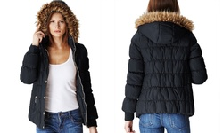 Women's Juniors Puffer Jacket with Fur Lined Hood - Black - Size: Small